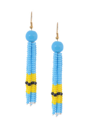 Blue-Yellow Glass Beads Earrings