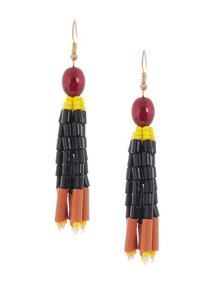 Black-Brown Glass Beads Earrings