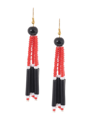 Blue-Black Glass Beads Earrings