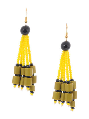 Green-Black Glass Beads Earrings