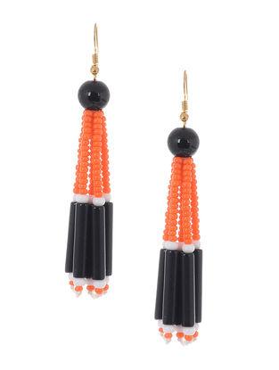 Orange-Black Glass Beads Earrings