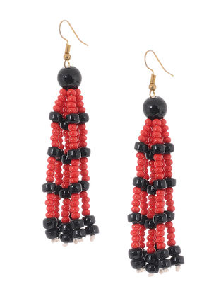 Red-Black Glass Beads Earrings