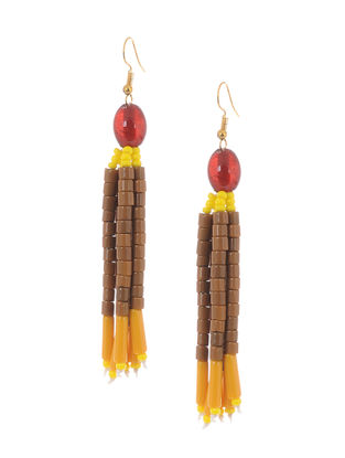 Yellow-Brown Glass Beads Earrings
