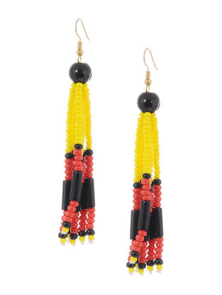 Yellow-Red Glass Beads Earrings