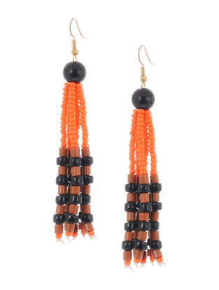 Orange-Black Glass Beads Earrings
