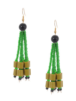 Green-Yellow Glass Beads Earrings
