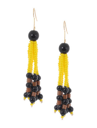 Yellow-Black Glass Beads Earrings