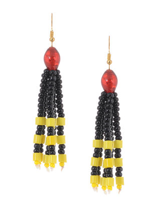 Black-Yellow Glass Beads Earrings