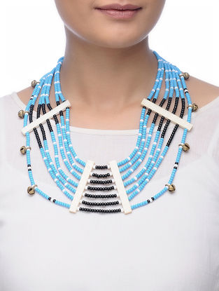 Blue-Black Glass Beads Necklace