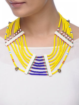 Yellow-Blue Glass Beads Necklace