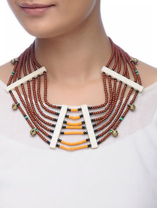 Brown-Orange Glass Beads Necklace