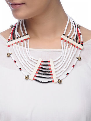 White-Black Glass Beads Necklace