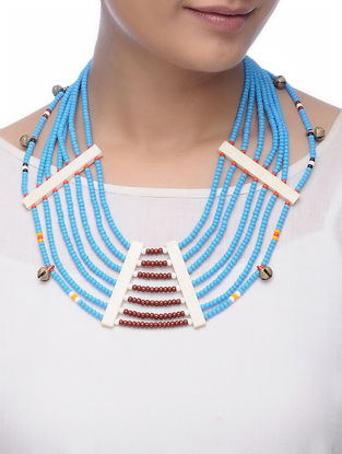 Blue-Brown Glass Beads Necklace