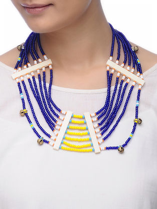 Blue-Yellow Glass Beads Necklace