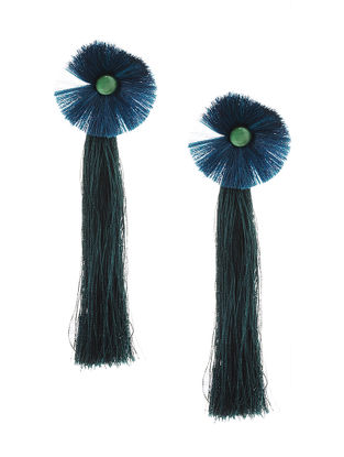 Blue Earrings with Tassels