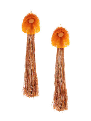 Orange-Brown Earrings with Tassels