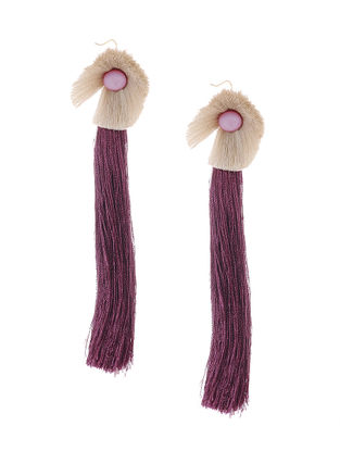 Burgandy-Grey Earrings with Tassels