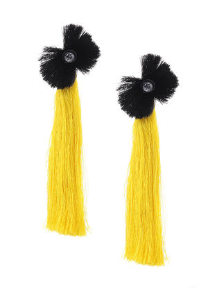 Yellow-Black Earrings with Tassels