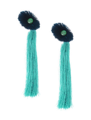 Green-Teal Earrings with Tassels