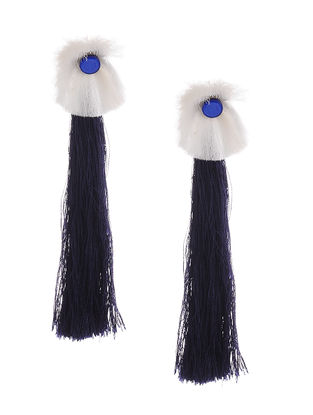 Blue-White Earrings with Tassels