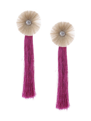 Pink-Grey Earrings with Tassels