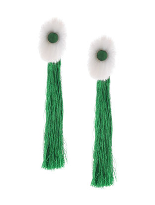 Green-White Earrings with Tassels