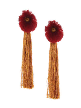 Brown-Red Earrings with Tassels