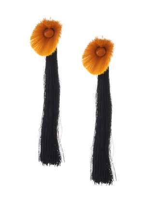 Orange-Black Earrings with Tassels