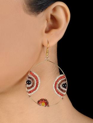 Yellow-Orange Glass Beaded Earrings