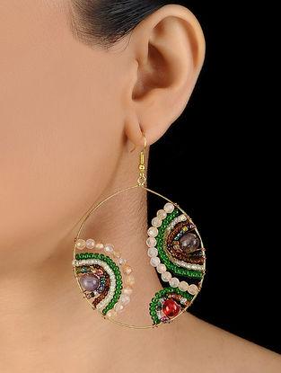 Green-Red Glass Beaded Earrings