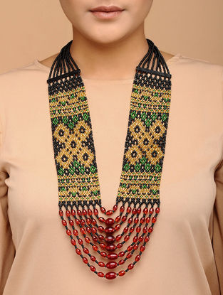 Multicolored Handcrafted Beaded Thread Necklace
