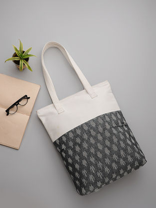 Grey-White Handwoven Ikat and Canvas Tote