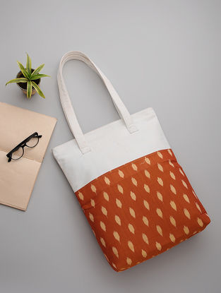 Orange-White Handwoven Ikat and Canvas Tote