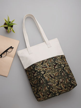 Grey-White Block-Printed Cotton and Canvas Tote