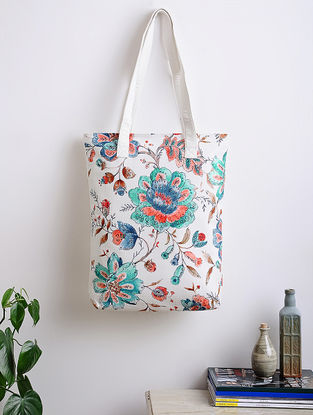 Ivory-Multicoloreded Floral Printed Woven Cotton Tote