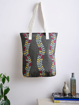 Grey Thread-Embroidered Woven Cotton Tote