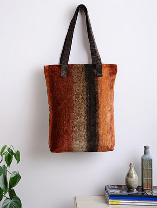 Brown-Black Woven Cotton Tote