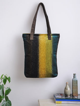 Blue-Black Woven Cotton Tote