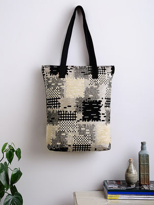 Black-Multicolored Abstract Print Woven Cotton Tote