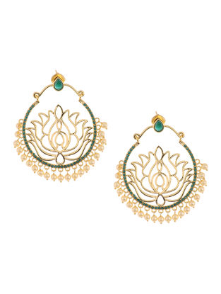 Classic Beaded Earrings with Lotus Design
