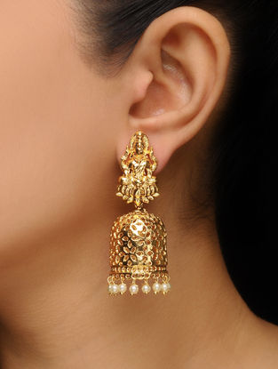 White Gold Tone Pearl Beaded Jhumkis with Deity Motif