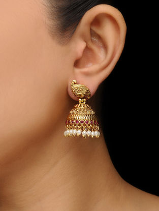 Pink Gold Tone Pearl Beaded Jhumkis