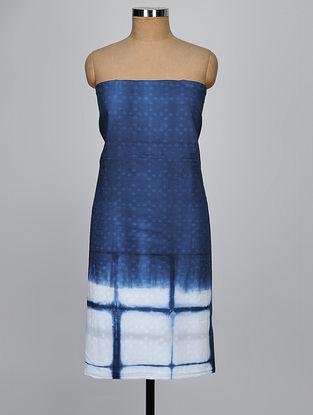 Indigo-White Shibori Cotton Slub Kurta Fabric