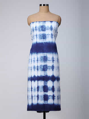 Ivory-Indigo Shibori Cotton Kurta Fabric