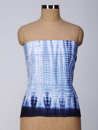 Ivory-Indigo Shibori Linen Cotton Slub Blouse Fabric