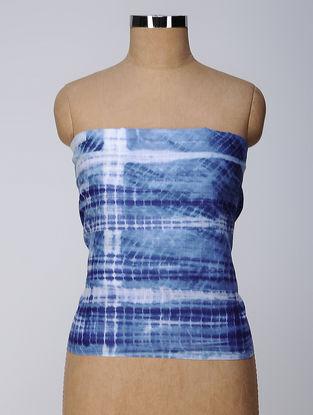 Indigo-Ivory Shibori Cotton Slub Blouse Fabric
