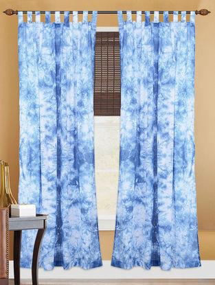 Indigo White Handcrafted Shibori Cotton Door Curtain  7ft