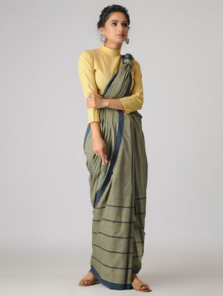 Green-Blue Handspun Khadi Cotton Saree