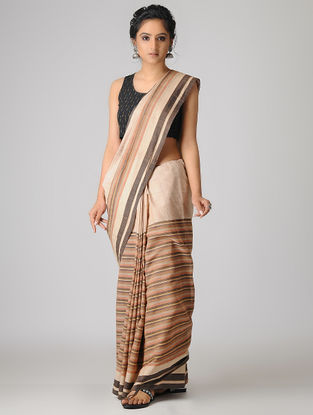 Beige-Brown Handspun Khadi Cotton Saree
