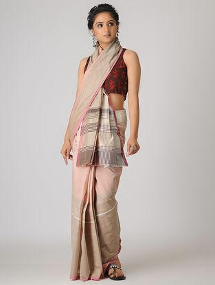 Beige-Pink Handspun Khadi Cotton Saree